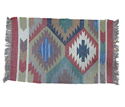 Amazon.com: 2x3 Designer Floor Mat Decorative Wool Jute ...