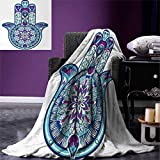 smallbeefly Hamsa Lightweight Blanket Eastern Culture Belief Turkish Spiritual Symbol in Retro Arabian Style Digital Printing Blanket 60''x36'' Blue Pale Blue Purple