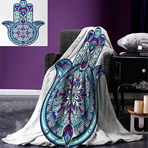 smallbeefly Hamsa Lightweight Blanket Eastern Culture Belief Turkish Spiritual Symbol in Retro Arabian Style Digital Printing Blanket 60''x36'' Blue Pale Blue Purple by smallbeefly
