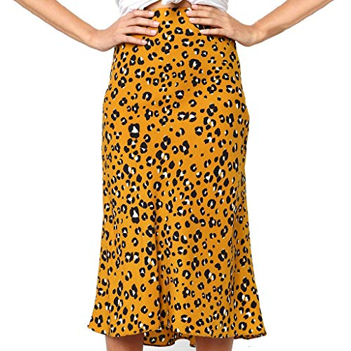 bec1ff4111 SOWU Women Mini Skirt Ladies Fashion Vintage Leopard Print High Waist  Swimsuit Beach Casual Maxi Skirt Yellow