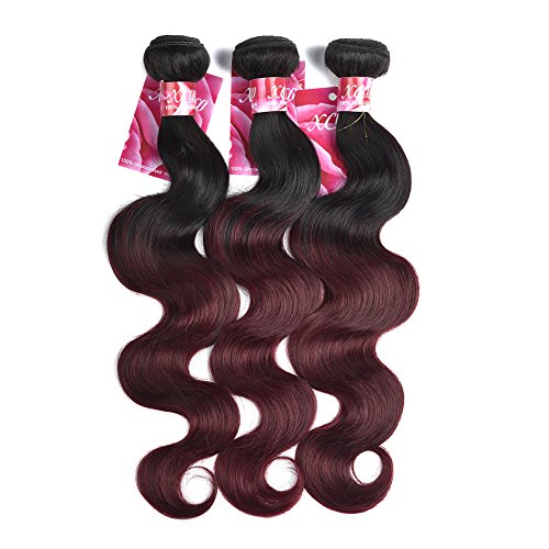 XCCOCO-Hair-7A-Peruvian-1b99j-Body-Wave-with-Closure-3-Bundles-Two-Tone-Ombre-Wine-Red-Body-Wave-with-4×4-Free-Part-Lace-Closure24-24-2418closure