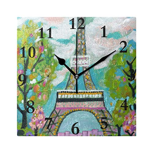 HangWang Wall Clock Eiffel Tower Painting Silent Non Ticking Decorative Square Digital Clocks Indoor Outdoor Kitchen Bedroom Living Room