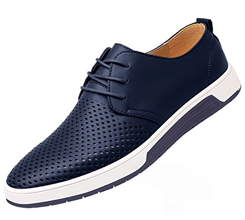 Shoes Men Casual Flat (Santimon Men's Casual Oxford Shoes Breathable Leather Flat Fashion Sneakers Sandals Blue 11 D(M) US)