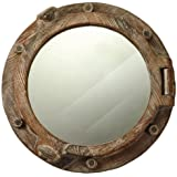 "Nautical Tropical Imports 17"" Decorative Wooden Round Porthole Mirror Wall Decor"