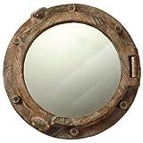 Cheap Nautical Tropical Imports 17″ Decorative Wooden Round Porthole Mirror Wall Decor