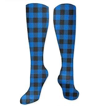 Amazon.com: SHARP-Q Buffalo Plaid Knee-Socks Women Girls