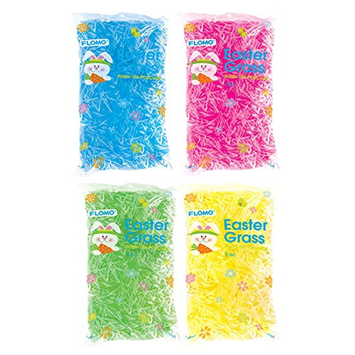 FLOMO Easter Grass, Assorted Colors, Plastic Grass (4 packs) Decorative Grass, Easter Basket, Grass for Easter Basket, Easter Basket Ideas, Easter Decorations, Easter gifts