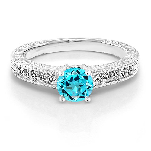 925 Sterling Silver Swiss Blue Topaz and White Diamond Ring (1.07 Ct Round Gemstone Birthstone Available in size 5,6,7,8,9)