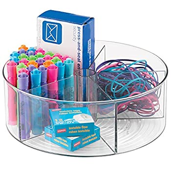 mDesign Deep Plastic Lazy Susan Turntable Storage Container - Divided Spinning Organizer for Home Office Supplies, Pens, Erasers, Tape, Colored Pencils - Clear