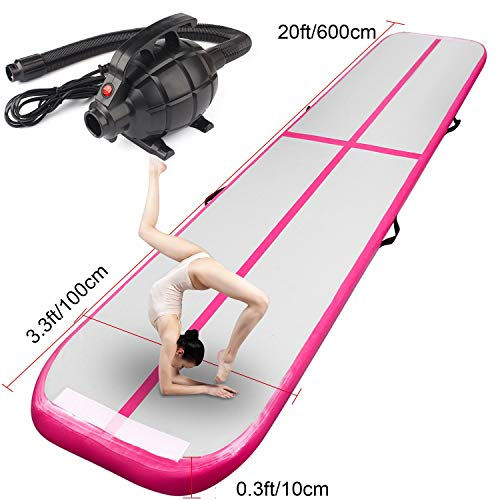 FBSPORT Training mat Inflatable Gymnastics airtrack with Electric Air Pump for Practice Gymnastics, Tumbling,Parkour, Home Floor