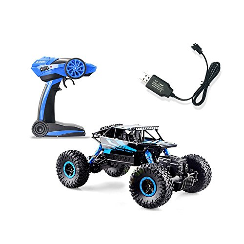 Offroad RC Truck ROOFULL 1/18 Scale RC Rock Monster Truck Electric Radio Remote Control Car Toys 2.4Ghz High Speed Racing Car 100M 4WD Offroad Vehicle Rock Crawler Race Trucks Blue