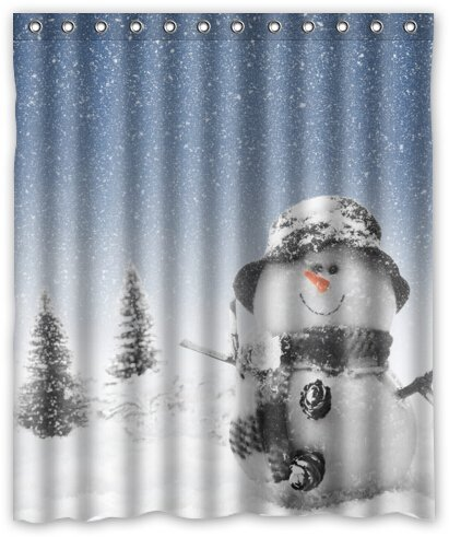 Fantastic Bath WaterproofFashion Custom White Winter Snowman Fabric Bath Shower Curtain Personalized Standard Size 60 X 72 Inch With Rings ()