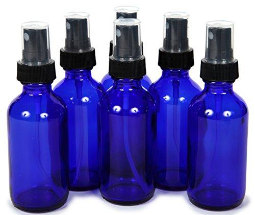 (6, Cobalt Blue, 2 oz Glass Bottles, with Black Fine Mist Sprayers)