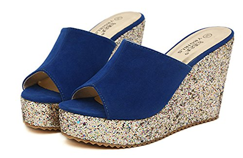Flip Azul Mujer Zapatillas Casuales De Goma Wealsex Suela Para Cuñas Sandalias Lentejuelas Chanclas Cuñas Flop De Boca Pescado wxnF4TO4qf