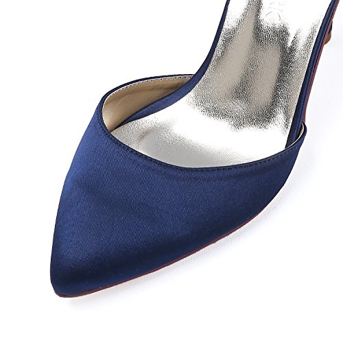 Mariee Aiguille Talon Soiree Marin de Satin Pointu Bout HC1811 Haut Chaussures Bleu Femme Elegantpark Rivet PRZwqF4WZ