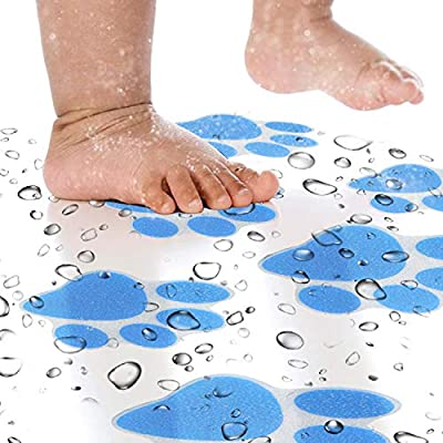 KarlunKoy Non Slip Bathtub Stickers Adhesive Safety Shower Treads Sticker Tub Tattoo Paw Print Bathroom Applique Decal with Scraper Pack of 6 Blue