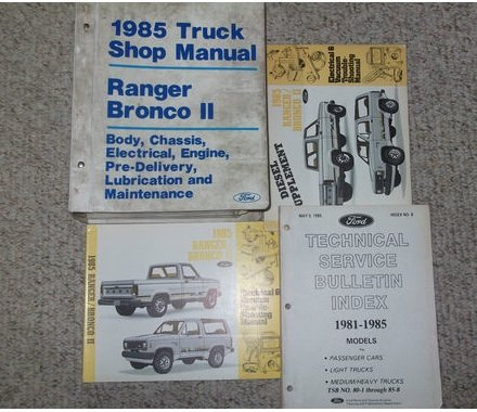 1985 FORD RANGER BRONCO II TRUCK Service Shop Repair Manual Set OEM FACTORY 85 (FACTORY 1985 Ford RANGER/BRONCO II service manual, Technical service bulletin index manual diesel wiring diagrams,and the electrical and vacuum troubleshooting manual..)
