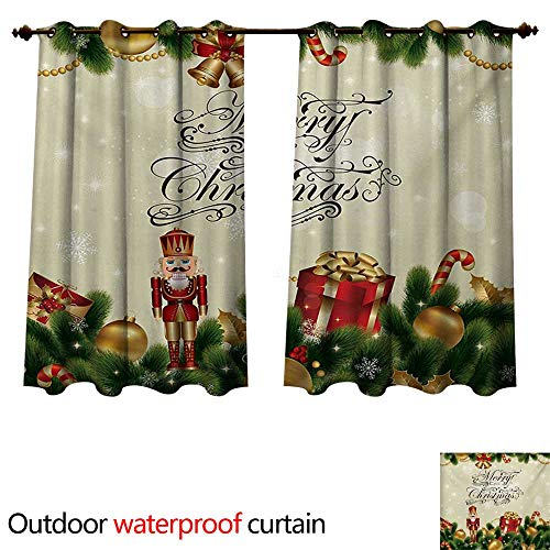 WilliamsDecor Christmas Home Patio Outdoor Curtain Noel Season Ornaments with Birch Branch Cute Ribbons Bells Candy Canes Art Image W72 x L63(183cm x 160cm)