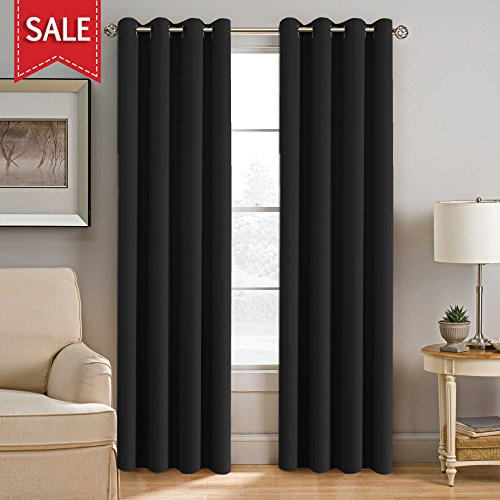H.VERSAILTEX Ultra Blackout Thermal Insulated Curtains with Antique Grommet Top Window Shades - 52 x 96 - Inch in Solid Jet Black(Set of 1 (Classic Single Shade)