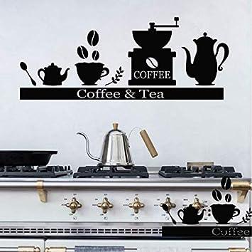 zhimu Máquina de café calcomanía de Pared portavasos de té Estante de Vinilo Etiqueta de la
