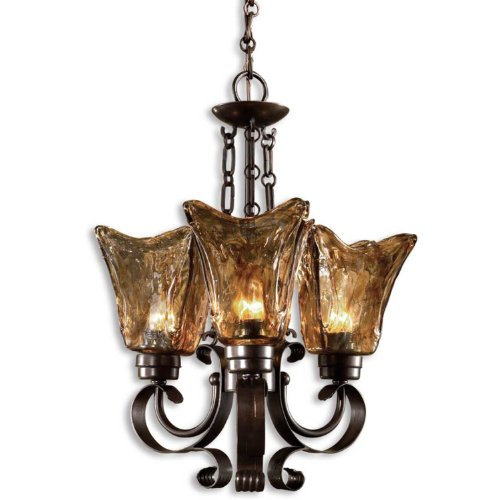 Uttermost 21008 Vetraio 3-Light Chandelier, Oil Rubbed Bronze (Uttermost Vetraio Accent)