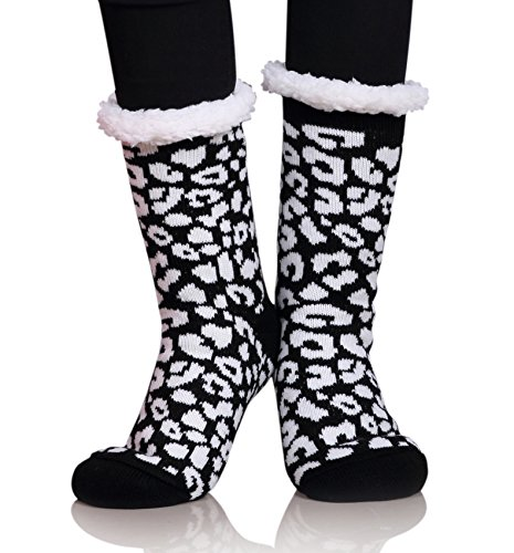 MIUBEAR Womens Thermal Slipper Socks Sherpa Lined Nonskid Fuzzy Cozy Winter Socks (Black) (Lined Plus Size Stockings)