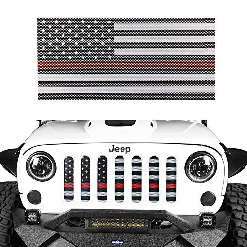 Hooke Road Jeep Wrangler Front Grille Deflector Guard, US American Flag Thin Red Color for 2007-2018 Wrangler JK & Unlimited