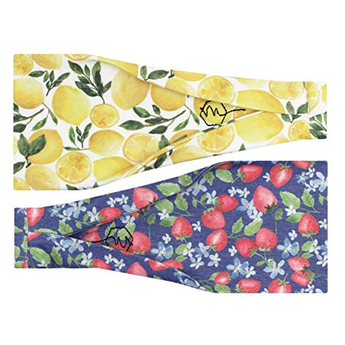 Maven Thread Womens Headband Yoga Running Exercise Sports Workout Athletic Gym Wide Sweat Wicking Stretchy No Slip 2 Pack Set Strawberries and Lemons Citrus