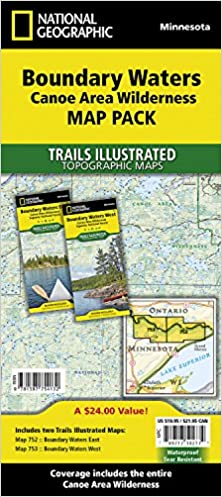 Boundary Waters Canoe Area Wilderness Map Pack Bundle National - Us map showing boundary waters minnesota
