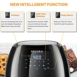 Secura Max 6.3Qt Air Fryer, 1700W Digital Hot Air Fryer | 10-in-1 Oven Oilless Electric Cooker w/Preheat & Shake Remind…