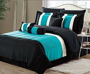 11-Piece Oversized Teal Blue & Black Comforter Set Bedding with Sheet Set (King)
