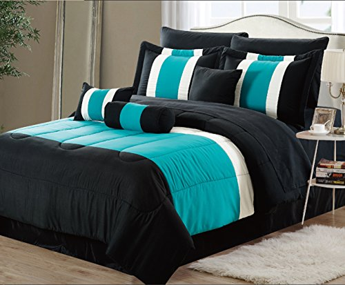 11-Piece Oversized Teal Blue & Black Comforter Set Bedding with Sheet Set (California King) ()
