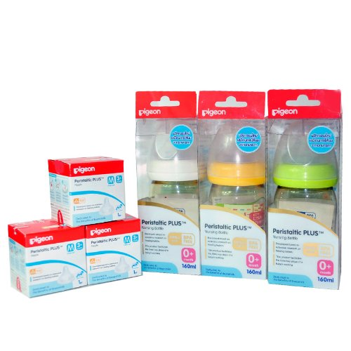 New Pigeon Baby Feeding PPSU Bottles Set with Peristaltic Nipples Size M