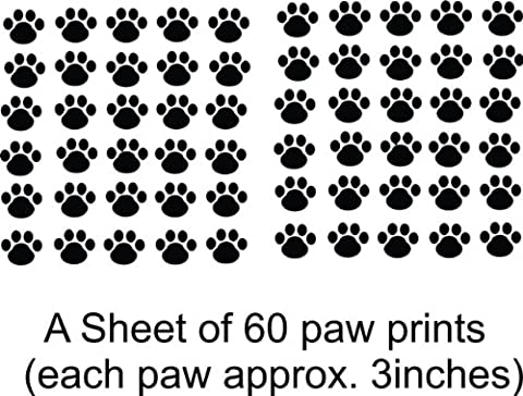 Cat - Dog - 60 Animal Paw Prints Living Room Bedroom Picture Art- Peel & Stick Sticker - Design With Vinyl Wall Decal - 24 Colors Available - Picture Paw Print