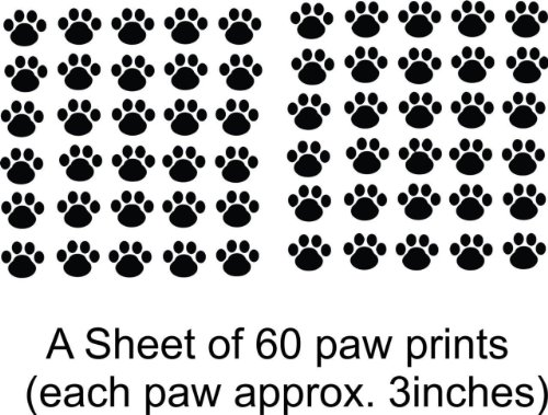 - Cat - Dog - 60 Animal Paw Prints Living Room Bedroom Picture Art- Peel & Stick Sticker - Design With Vinyl Wall Decal - 24 Colors Available 21x31