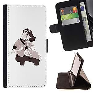 BullDog Case - FOR/Apple Iphone 6 / - / LOVE COUPLE KIDS DRAWING VALENTINES /- Monedero de cuero de la PU Llevar cubierta de la caja con el ID Credit Card Slots Flip funda de cuer