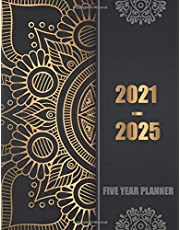 2021-2025 Five Year Planner: 60 Months Calendar, 5 Year Appointment Calendar, Business Planners, Agenda Schedule Organizer Logbook and Journal with Black Golden mandala cover