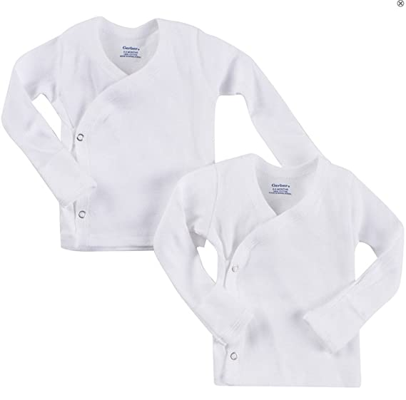 c7fcc4ed8 Image Unavailable. Image not available for. Color: Gerber Unisex-Baby 2  Pack Long Sleeve Side Snap Mitten Cuffs Shirt- Preemie
