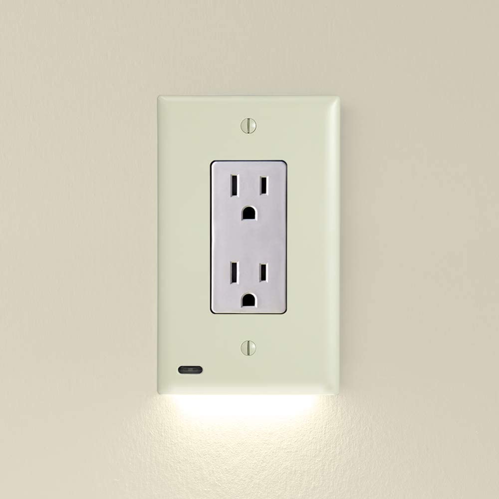 5 Pack, SnapPower GuideLight 2 for Outlets [for Standard Decor, Not GFCI outlets] - Night Light - Electrical Outlet Wall Plate with LED Night Lights - Automatic On/Off Sensor - (Décor, Ivory)