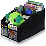 Lusso Gear Car Seat Organizer Front Backseat Black Stitching Great Adults & Kids Featuring 8 Storage Compartments Toys, Magazines, Tissues, Maps, Books, Documents, Games & More