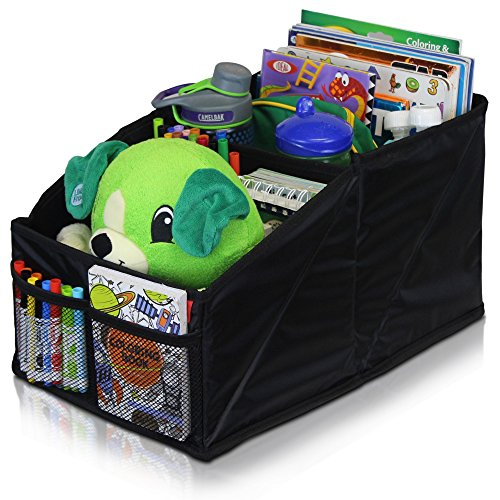 Car Seat Organizer for Front or Backseat with Black Stitching Great for Adults & Kids Featuring 8 Storage Compartments for Toys, Magazines, Tissues, Maps, Books, Documents, Games & More