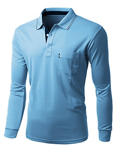 Xpril Men Cool Max Fabric Sporty Design 2 Tone Collar Polo T-Shirts SKYBLUE size L