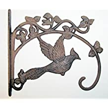 Aunt Chris' Products - Large Cast Iron Basket Hanger - Cardinal On Ivy - Scroll Work Design - Rustic Bronze - Indoor or Outdoor Use