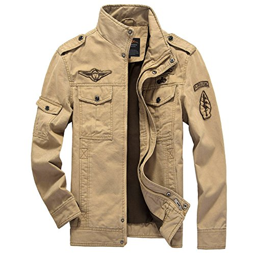 Microfiber Stadium Jacket (H.T.Niao Jacket8331C3 Men 's Military Fashion Cold Jackets(Khaki,Size XXXL))
