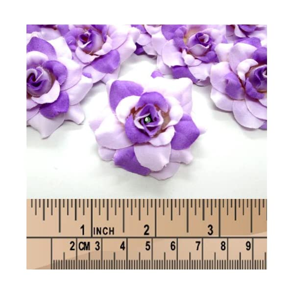 Wholesale Lot for Wedding Work headbands Artificial Silk Flower Make clips 24 Two-tone Dark Pink mini Roses Heads 1.75 inches