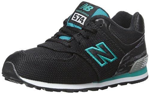 New Balance KL574 Summer Waves I Running Shoe (Infant/Toddler), Black/Green, 2 M US Infant ()