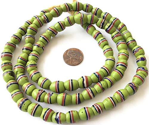 Ghana African Fine Old Venetian Wound Banded Italiano Antique Glass Trade Beads ()