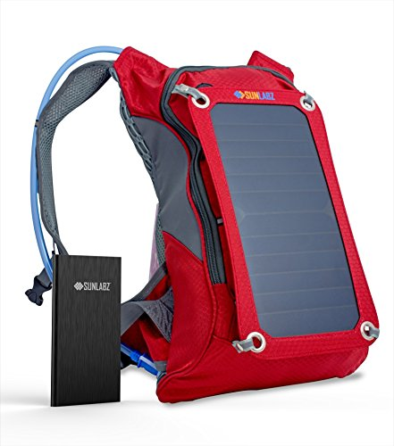 Solar Charger Backpack (7W) with 10,000 mAh Power Bank and 1.8L Hydration Pack and Ergonomic Carrying System by SunLabz …