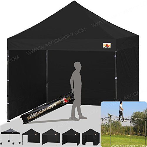 Cheap ABCCANOPY (18+colors) 8ft by 8ft Ez Pop up Canopy Tent Commercial Instant Gazebos with 4 Removable Sides and Roller Bag and 4x Weight Bag (black)
