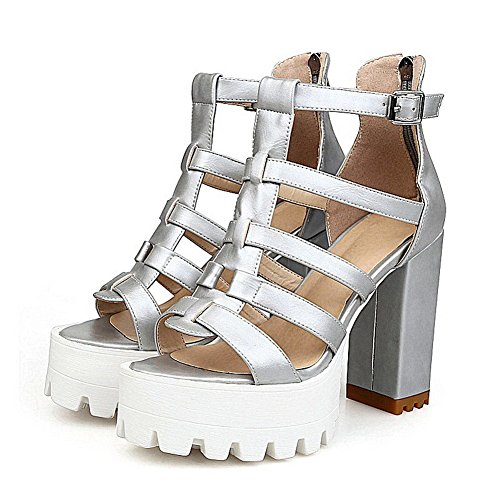 AllhqFashion Women's Solid PU High-Heels Open Toe Zipper Sandals Silver C9Z0tdY